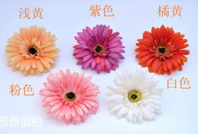 Silk Gerbera Flwoer Head Dia. 10cm fleurs artificielles daisy tournesol gerberas 6 couleurs disponibles pour bricolage bijoux bébé enfant