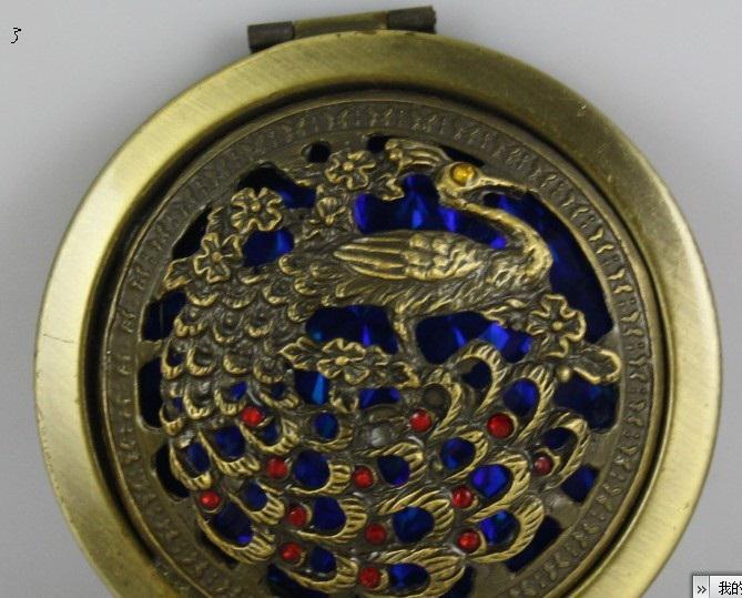 Boheemse etnische stijl, hol / ingelegd met edelstenen, vintage make-up spiegel, pauw