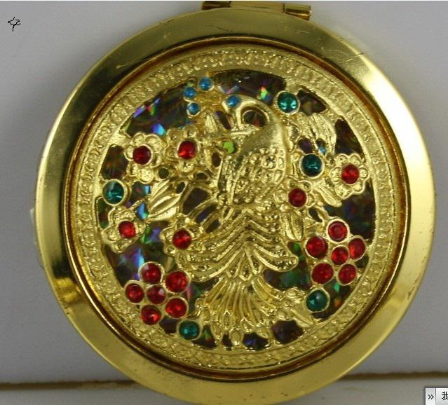 Bohemian ethnic style, hollow / inlaid with precious stones, vintage make-up mirror, peacock