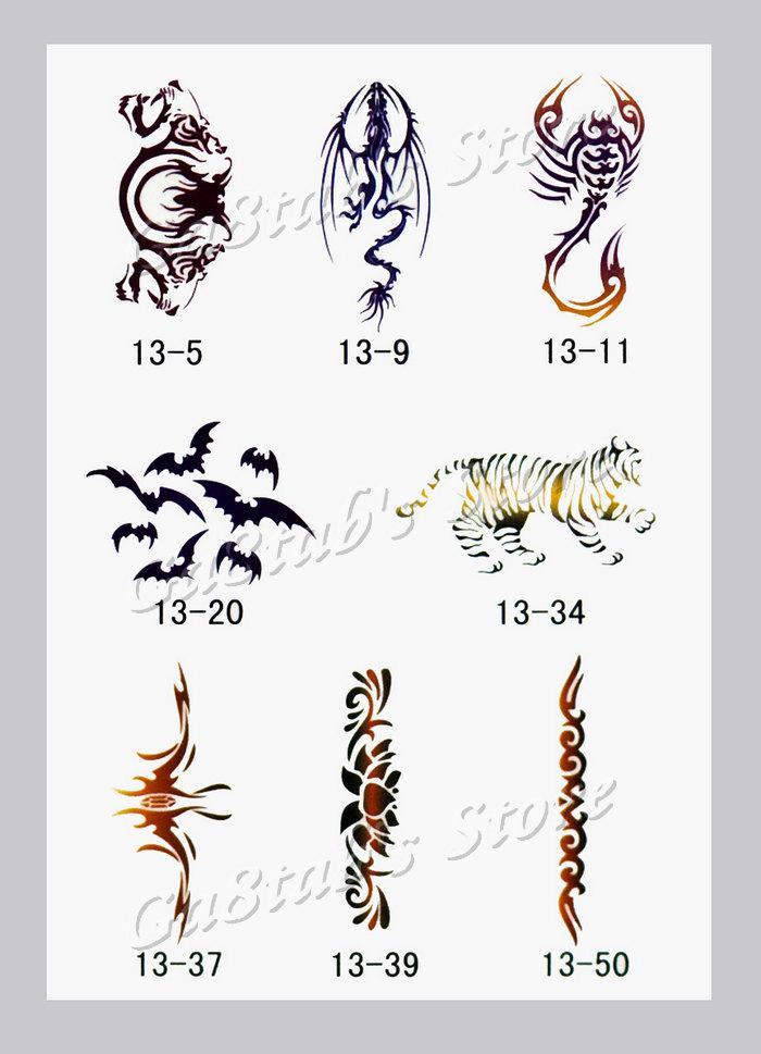 2020 Temporary Airbrush Tattoo Stencil Book Template