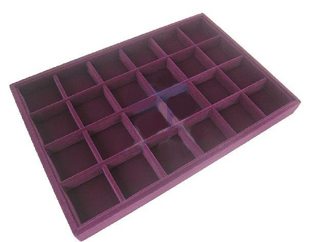 Purple 24 Compartments Jewelry Supplies Display Case Jewellery