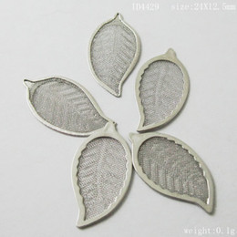 Wholesale Copper Flakes - Brass Net Flake Beading, Nickel-free & lead-free, Leaf, 24x13x0.5mm,ID4429