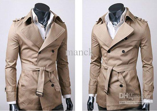 2017 Mens Winter Long Coat Fashion Men Double Breasted Trench Coat ...
