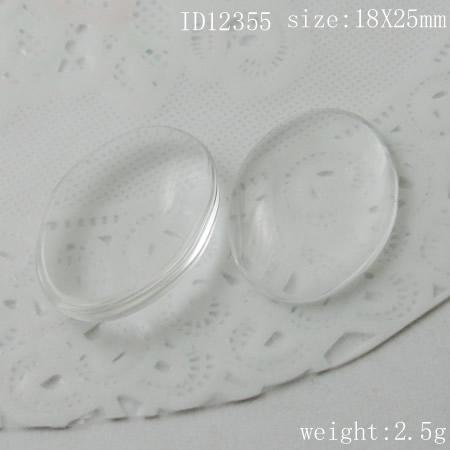 Beadsnice DIY Smycken Glas Cabochon Cameo Oval Domed Clear Glass Cabochon 18 x 25 mm ID 12355