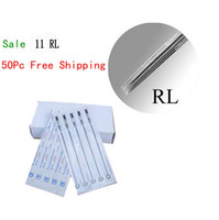 Wholesale 11rl Needles - Disposable Tattoo Needles Premade Sterile 11RL Round Liner 50pcs Tattoo Needles
