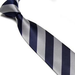 Wholesale student neckties - striped ties Men's tie necktie retail sale neckcloth silver+navy neck ties students' ties shirt tie