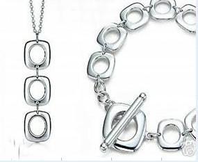 Partihandel - Retail Lägsta pris Julklapp 925 Silver Gratis frakt Halsband + Armband Set S225