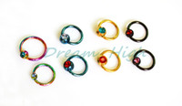 Wholesale Jewelled Earrings - Fashion Body Piercing Jewelry Titanium Ball Closure Ring Jewelled Labret Ring Earring Eyebrow Pierci