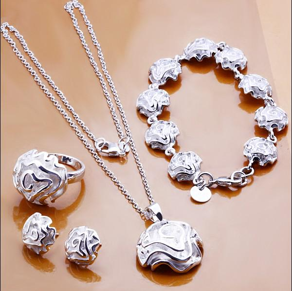 Fashion Jewelry Set 925 Sterling Silver Plated Rose Pendant Necklace Earrings Ring Bracelet For Women Valentine's Day Gifts