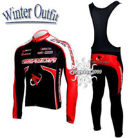 Wholesale Merida Winter Bib Pants - 2010 MERIDA Winter Fleece Thermal Red Long Sleeve Cycling Jersey + Bib Pants M046