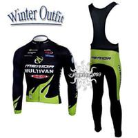 maillot vert merida achat en gros de-Maillot de cyclisme + pantalon à bretelles M011 en laine polaire thermique vert hiver 2010
