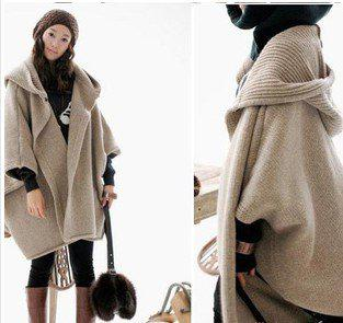 Knitting Pattern For A Hooded Cape Cloak Or Poncho : 2017 Hooded Cloak Irregular Sleeve Sweater Cardigan Poncho Cape Coat From Jon...
