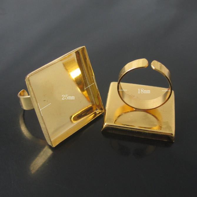 Beadsnice Hurtownie Square Regulowane Bazy pierścieniowe Półki Brass Pierścień Ustawienia Pierścień Puste Fit 25mm dla DIY Biżuteria Akcesoria ID7102