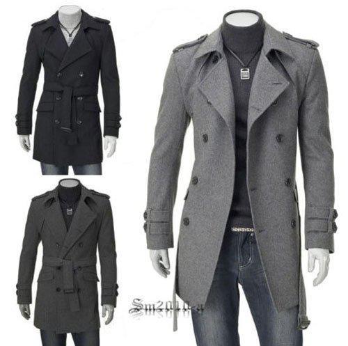 2017 Fashion Slim Fit Men Casual Trench Coat Mens Long Winter ...