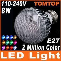 Wholesale E27 Flash Lamp - 2 Million Color 8W 100-240V RGB led bulbs E27 LED Flash Light Bulb lamp with Remote Control H4530