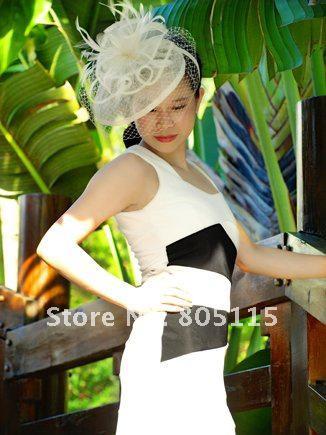 Elegante sinamay fascinator hoed met veren en sluier voor bruiloft kentucky derby ascot races, gratis verzending