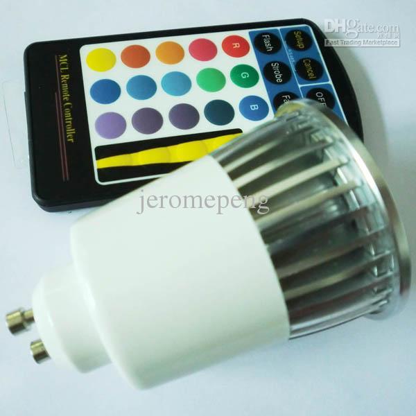 85-265V AC 5W RGB GU10 LED Spotlight Color changing Bulb Lights with 28keys IR Remote by DHL/Fedex/UPS