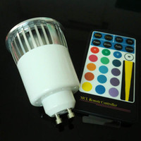 Wholesale Led Color Ir - 20PCS 85-265V AC 5W RGB GU10 LED Spotlight Color changing Bulb Lights with 28keys IR Remote Free Shipping by DHL Fedex UPS