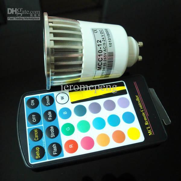 20 stks 85-265v AC 5W RGB GU10 LED Spotlight Color Changing Lamp Lights met 28Keys IR-afstandsbediening Gratis verzending door DHL / FEDEX / UPS