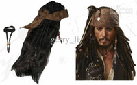 Wholesale Costume Beards - Retail Wig Pirates Caribbean Jack Sparrow Captain Costume Accessories Wigs Beards Sets Party Free Shipping 1 SET