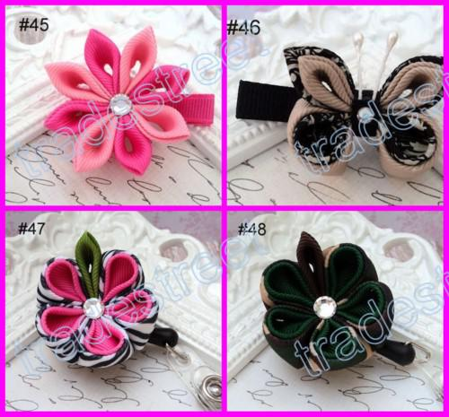 mix color grey kanzashi flower hair clips badge reel hair clips /pony holder