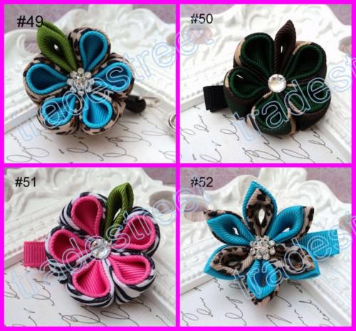 mix color wine kanzashi flower hair clips badge reel hair clips /pony holder