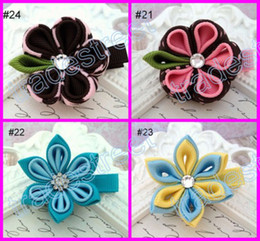 Wholesale Kanzashi Headband - free shipping mix flower clips 160pcs kanzashi flower hair clips badge reel hair clips  pony holder