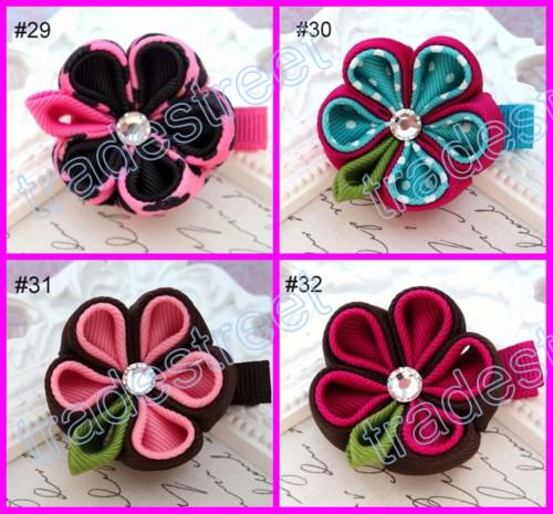 free shipping mix color grey 160pcs kanzashi flower hair clips badge reel hair clips /pony holder