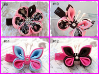 Wholesale Flower Ponies - free shipping mix color wine 160pcs kanzashi flower hair clips badge reel hair clips  pony holder
