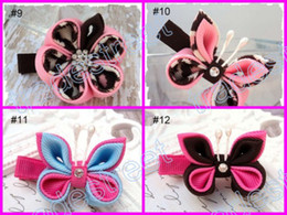 Wholesale Hair Ponies Barrettes Wholesale - free shipping mix color wine 160pcs kanzashi flower hair clips badge reel hair clips  pony holder