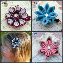 Wholesale Kanzashi Headband - free shipping mix 50pcs kanzashi flower hair clips badge reel hair clips  pony holder