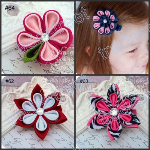 free shipping mix color newest 50pcs kanzashi flower hair clips badge reel hair clips /pony holder