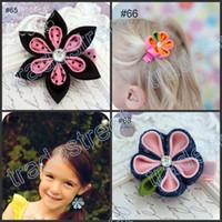 Wholesale Kanzashi Headband - free shipping mix ribbon clips 50pcs kanzashi flower hair clips badge reel hair clips  pony holder