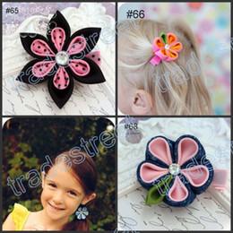 Wholesale Kanzashi Hair Clips - free shipping mix ribbon clips 50pcs kanzashi flower hair clips badge reel hair clips  pony holder