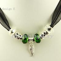 glasperle halskette china großhandel-Elegante Biaga Charms Halsketten mit großen Loch Murano Troll Glasperlen Schmuck Pnc002 billige China Modeschmuck