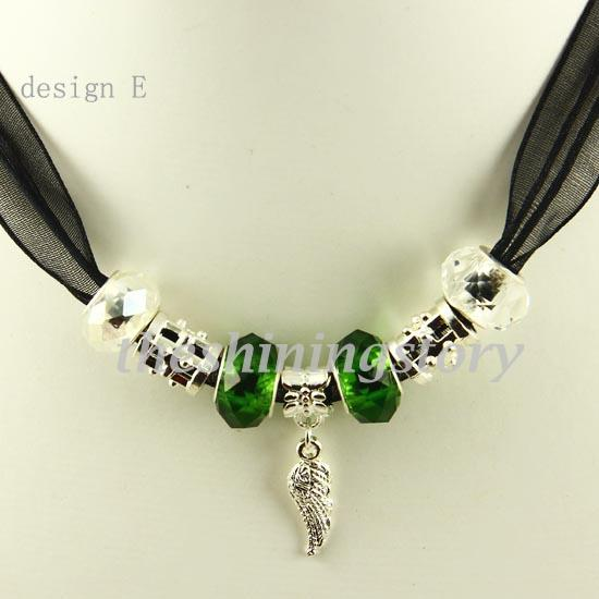 Elegant biagi charms necklaces with big hole murano troll glass beads jewellery Pnc002 cheap china fashion jewellery