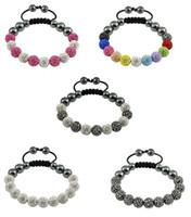Wholesale Pave Charm Cheap - 10mm Crystal Pave Disco Ball Bracelet Friendship Charm Bracelet Paris Gift Cheap 100pcs
