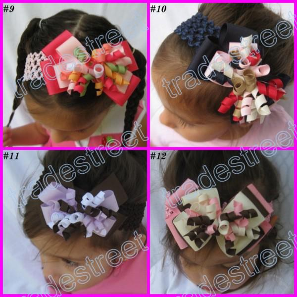 4 layered korker bows mix color Girl corker hair clips without headbands blue