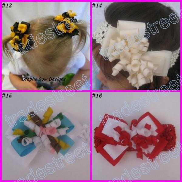 4 layered korker bows colors Girl corker hair clips without headbands wine