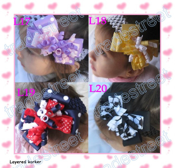 free shipping 65pcs 4 layered korker bows mix color Girl corker hair clips (without headbands) blue