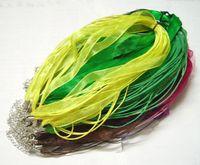 Wholesale Organza Ribbon Necklace Green - 100pcs lot Mix Color Organza Voile Ribbon Necklace Cord For DIY Craft Fashion Jewelry 18inch W3*