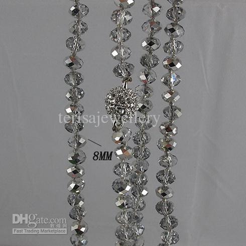 놀라운! 회색 크리스탈 보석 세트 6x8mm 회색 크리스탈 목걸이 팔찌 귀걸이 무료 배송 A2335