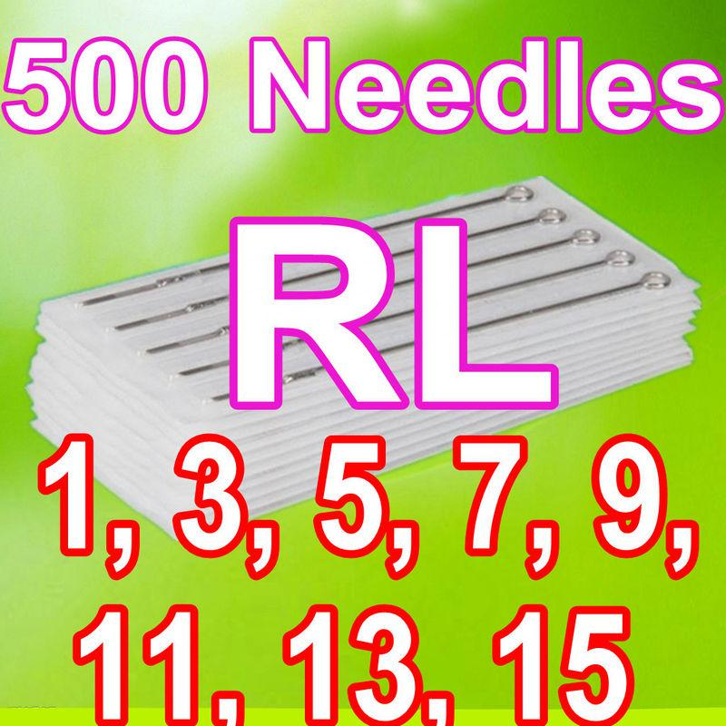 500PCS ROUND LINER TATTOO NEEDLES 1RL 3RL 5RL 7RL 9RL 11RL 13RL 15RL MIXED SIZES