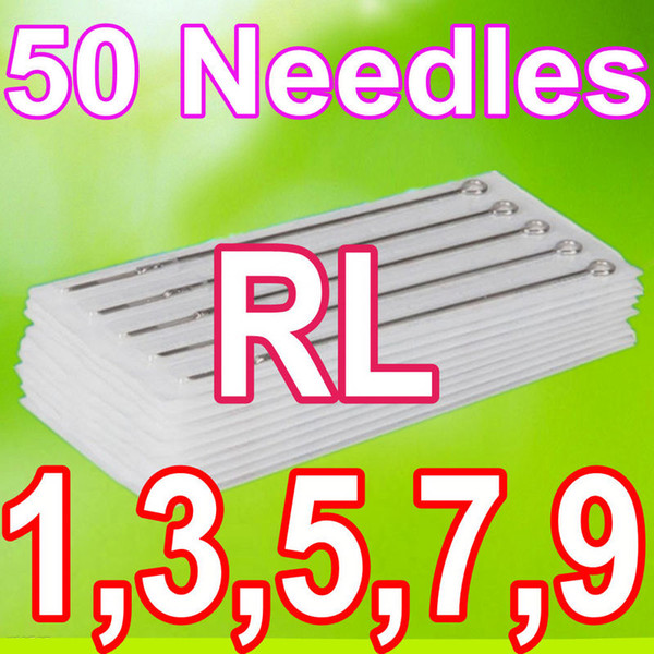 best selling Drop Shipping 50PCS PACK 1RL 3RL 5RL 7RL 9RL ASSORTED STERILE TATTOO NEEDLES DISPOSABLE SUPPLY