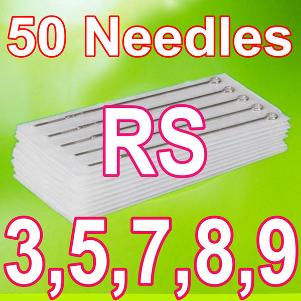 best selling 50pcs Lot Disposable Tattoo Needles 3RS 5RS 7RS 8RS 9RS Round Shader MIX SUPPLY
