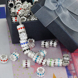China DIY 9*10mm Silver Plated,Mix Color Crystal Inlay European Big Hole Beads,Rhinestones Jewelry 100pcs supplier mixed big hole rhinestone beads suppliers