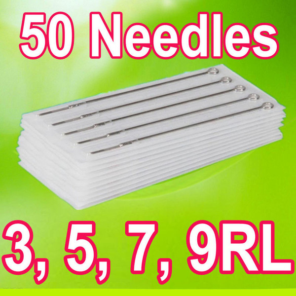 top popular Drop Shipping 3RL 5RL 7RL 9RL PACK 50 Assorted Sizes Sterile Tattoo Needles Round Liner Supply 2020