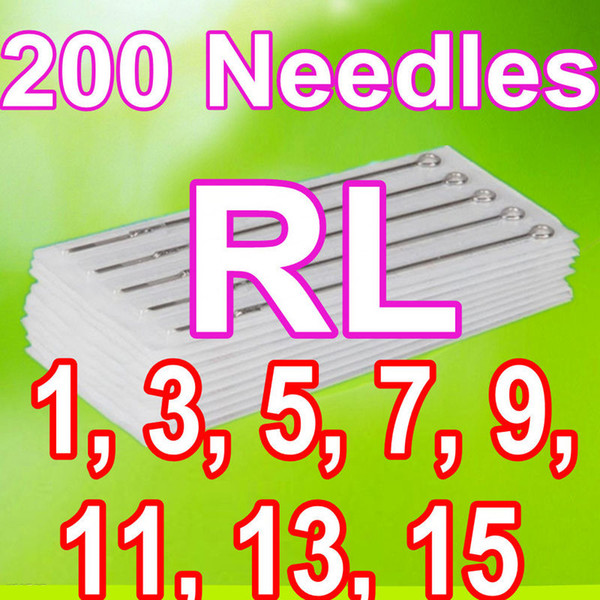 Drop Shipping Mixed 200 TATTOO NEEDLES 1RL 3RL 5RL 7RL 9RL 11RL 13RL 15RL Round Liner Supplies