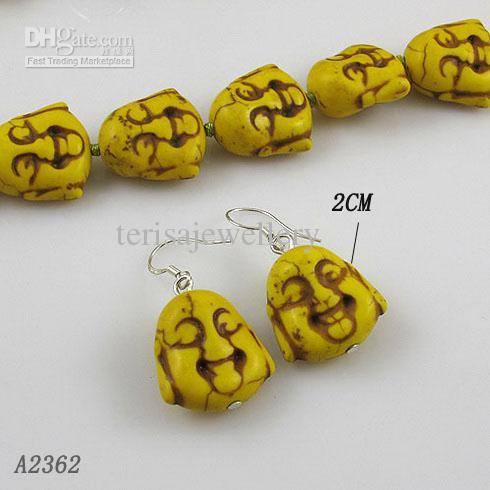 Impresionante ! Mezclas joyas A2362 turquesa pendiente suerte Buda 925 gancho de plata del pendiente de la mujer