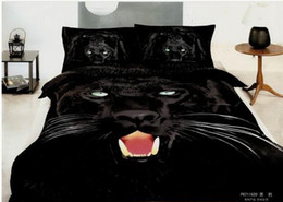 Wholesale Branded Bedding Sets - Brand new black panther animal cotton bedding set bedclothes bed linens for full queen reversible duvet cover bed sheet comforter sets 4 5pc